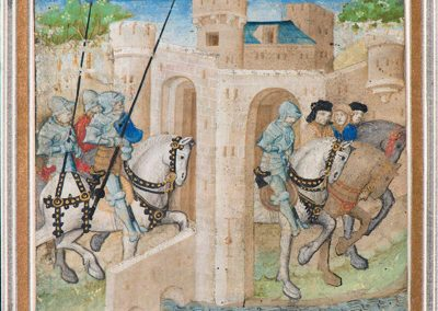 Photo of Equestrian knight entering and leaving a city from McMullen Museum of Art